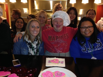 Dave shared lots of Valentine Cheer with these college students at the Ronald McDonald House near Lurie Children's Hospital