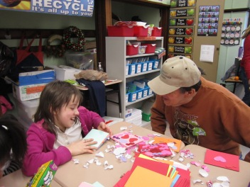 Gary School special education students were charmed to have their Valentine art project directed by Trinity Volunteers from the Arts of Life Chicago Studio