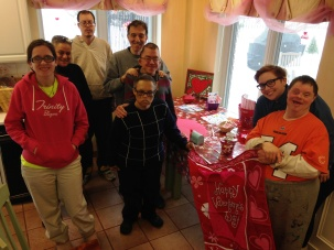 Grandma Mary's Valentine Making Station at the Loyola RMH was given the final touches by this group of enthusiastic Trinity Volunteers