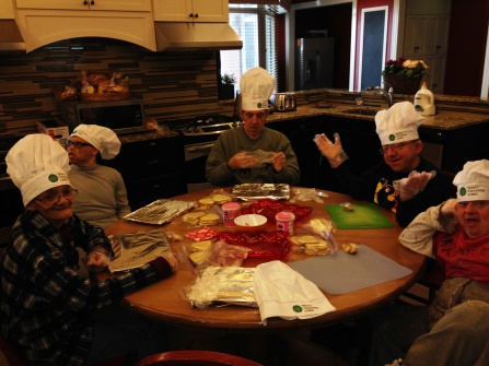 Making heart cookies for VC14 at the RMH near Lurie Children's Hospital in downtown Chicago
