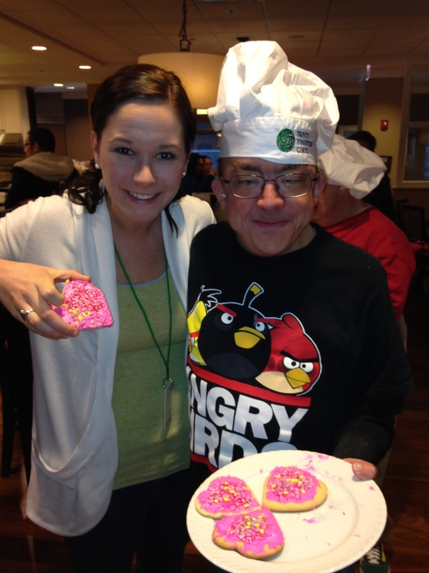 Mike served Valentine cookies and lots of Valentine cheer at the Ronald McDonald House near Lurie Children's hospital in downtown Chicago