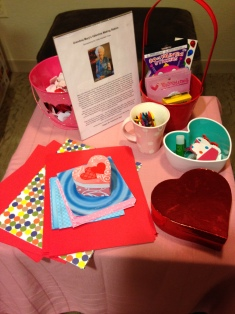 The little Valentine Making Station in the RMH family room located within Edward Hospital in Naperville