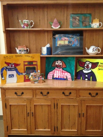 This collection of clown themed paintings from the Arts of Life Chicago Studio provide a delightful sense of Valentine Cheer in the house that Ronald built.