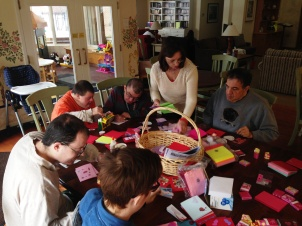 Trinity Volunteers made beautiful Valentine themed notecards to put in the welcome bags at the five Chicago area Ronald McDonald Houses