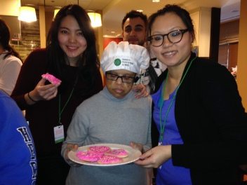 Walter shared beautiful heart cookies with Kendall College culinary students at Lurie RMH for VC14