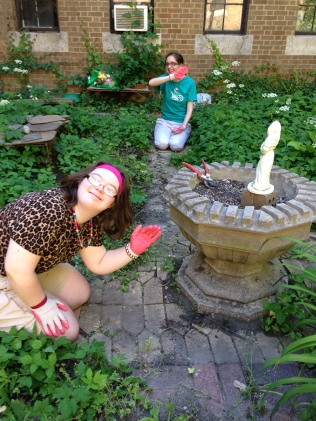 "Karina and Jackie even discovered St. Fiacre, patron saint of gardeners, while doing still more weeding in the ""Secret Garden."""
