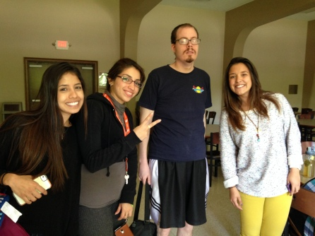Derek has added the role of tutor and conversation partner with ELS students to his many and varied volunteer activities. He's pictured here with three students from Venezuela.