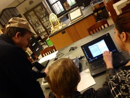 Derek & Lauren scanning documents in the Dominican archives with Sr. Janet