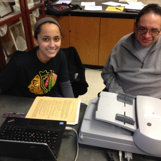 Trinity Volunteer David Espinosa and Dominican University student Vanessa Guillen work in the Dominican Archives scanning important documents. They also work in the university library supporting the ongoing effort to dust all the books and shelves and they enjoy helping out in the greenhouse.