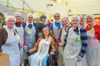 The Sisters of St. Joseph of LaGrange were some of the earliest supporters of Trinity Volunteer Corps. They not only helped fund this year's TVC Feed Our Community Day but also turned out in full force to volunteer alongside our Trinity Volunteers.